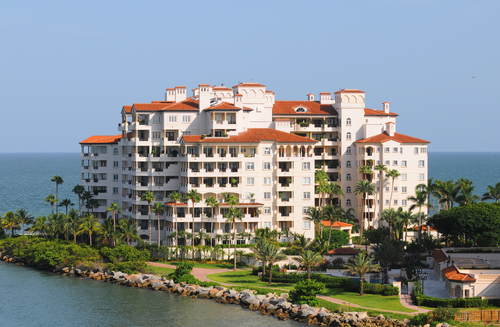 Modern waterfront building with timeshare apartment units