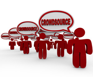 Many people in speech bubbles saying the word Crowdsource to ill