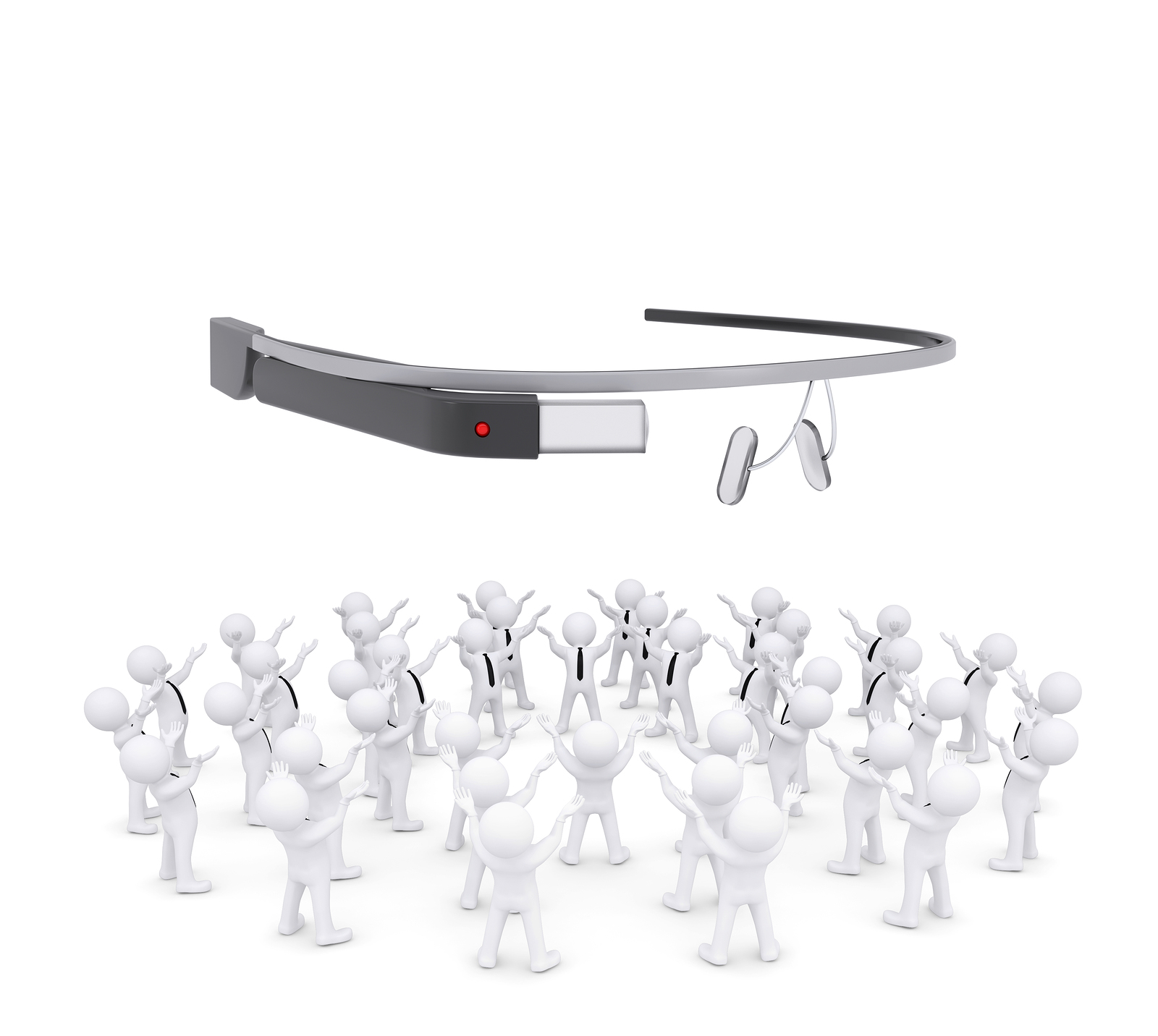 Group of people worshiping google glass. 3d Render