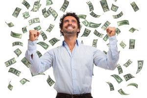 Man enjoying tons of cash