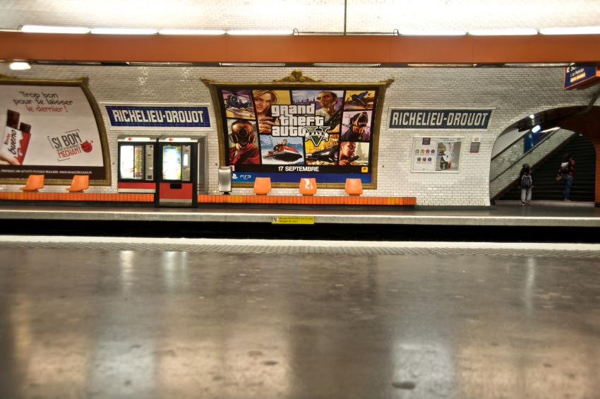 Grand Theft Auto Poster in Paris Metro