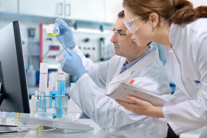 Researchers working at laboratory