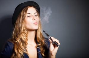 woman smoking ecigarette